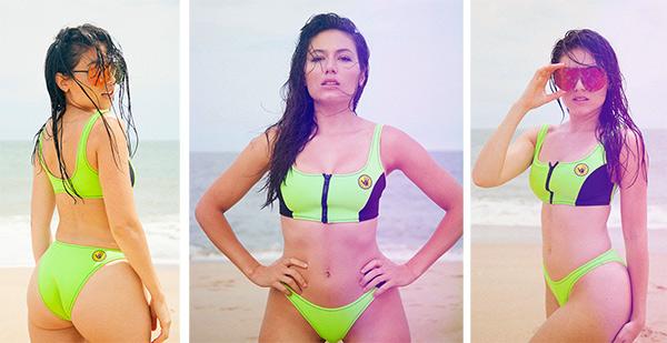 Kristina Eugenia modeling Body Glove Neon Swimwear on Lingerie Briefs