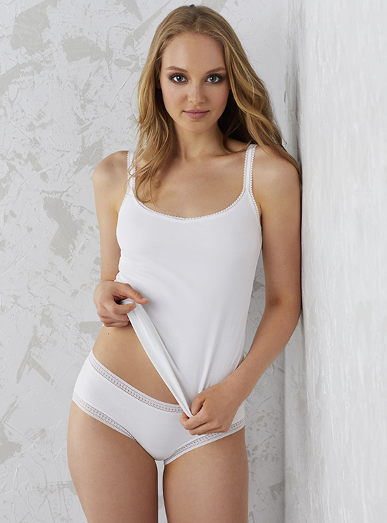 On Gossamer Cabana Cotton pima reversible camisole on Lingerie Briefs