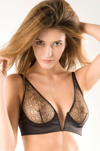 DAMARIS BLACK LACE NON PADDED V BRA