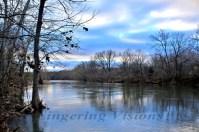 The Shenandoah River reflecting a blue winter sky.