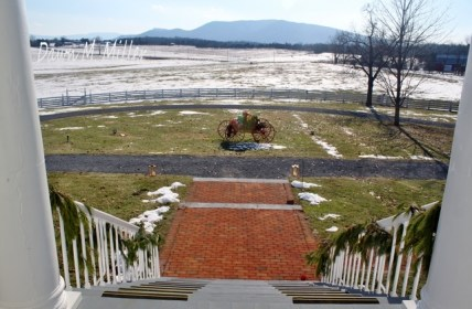Looking Down from the portico at Belle Grove(w)