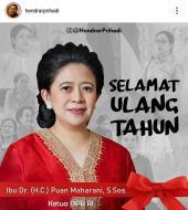 Wali Kota Semarang Ucapkan Selamat Ulang Tahun untuk Puan Maharani