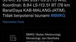 Tangkapan layar Twitter BMKG tentang Gempa di Kabupaten Malang Jumat (22/10/2021). Twitter/Lingkar.co