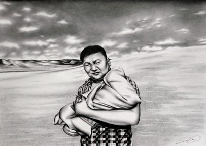 Mongolia Portrait Landscape drawing by Ling McGregor