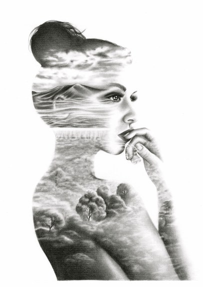 Double Exposure Drawing by Ling McGregor