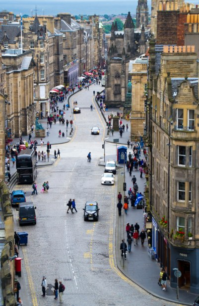 The Royal Mile as seen from the top of Camera Obscura