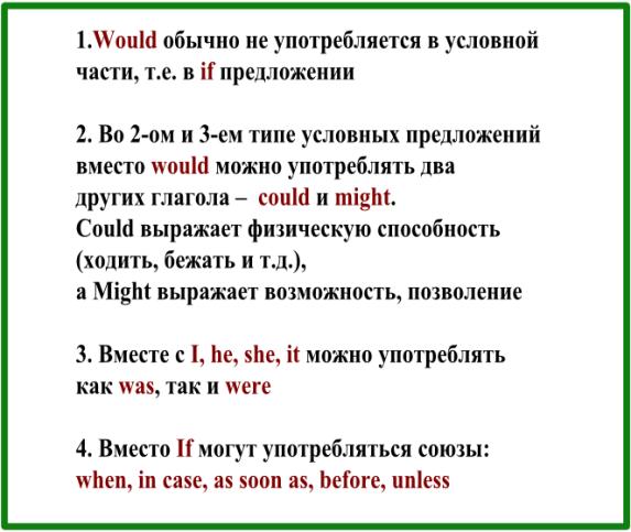 условные предложения в английском - особенности