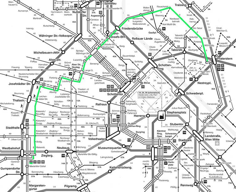 Die Linie 5 im Gesamtplan