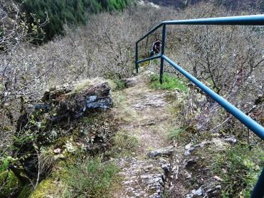 Ein Geländer sichert den Grenzsteig am Lätgesberg.