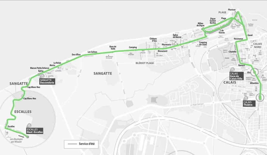 Streckenplan Linie 5 Calais.