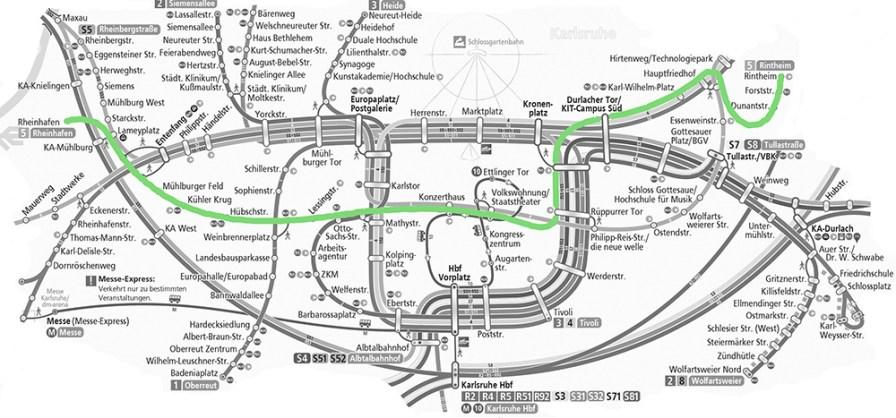 Der Linienverlauf der Straßenbahnlinie 5 in Karlsruhe, hier in Grün eingezeichnet. Quelle: KVV