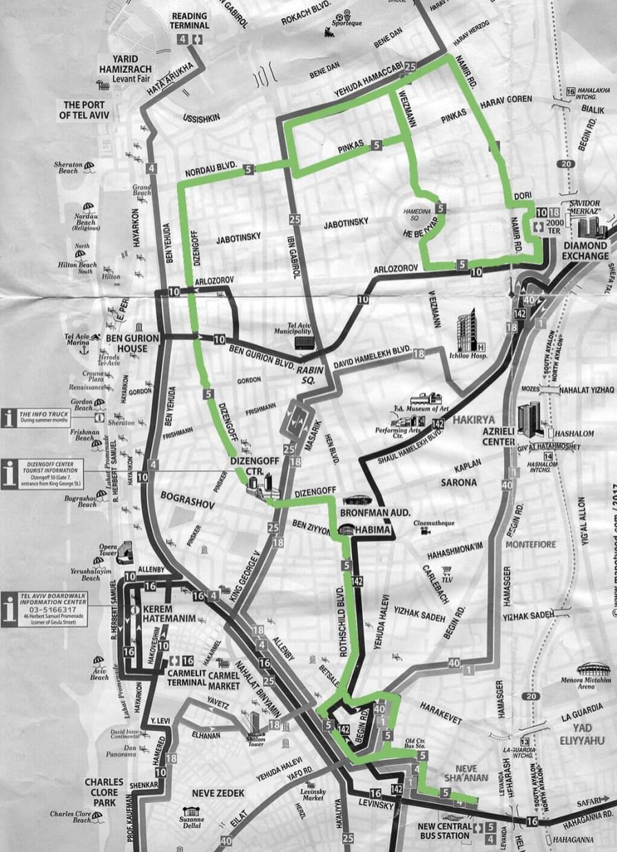 Tel Aviv der Plan mit Buslinien in Englisch