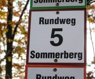 Wegweiser Rundwanderweg 5 auf dem Sommerberg.