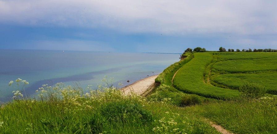 Im sanften Auf und Ab führt der Wanderweg oberhalb der Küste entlang.