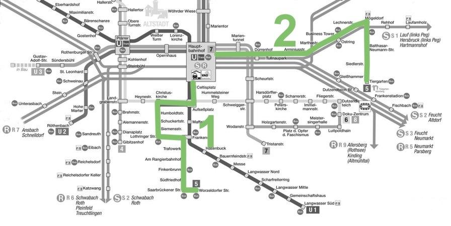 Netzplan Nürnberg, Straßenbahnlinie 5 grün. Quelle: VAG Nürnberg