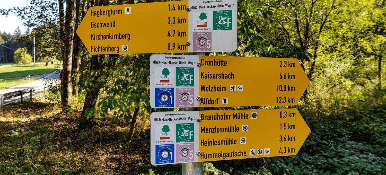 Beschilderung Muehlenwanderweg 5 Schwäbischer Wald