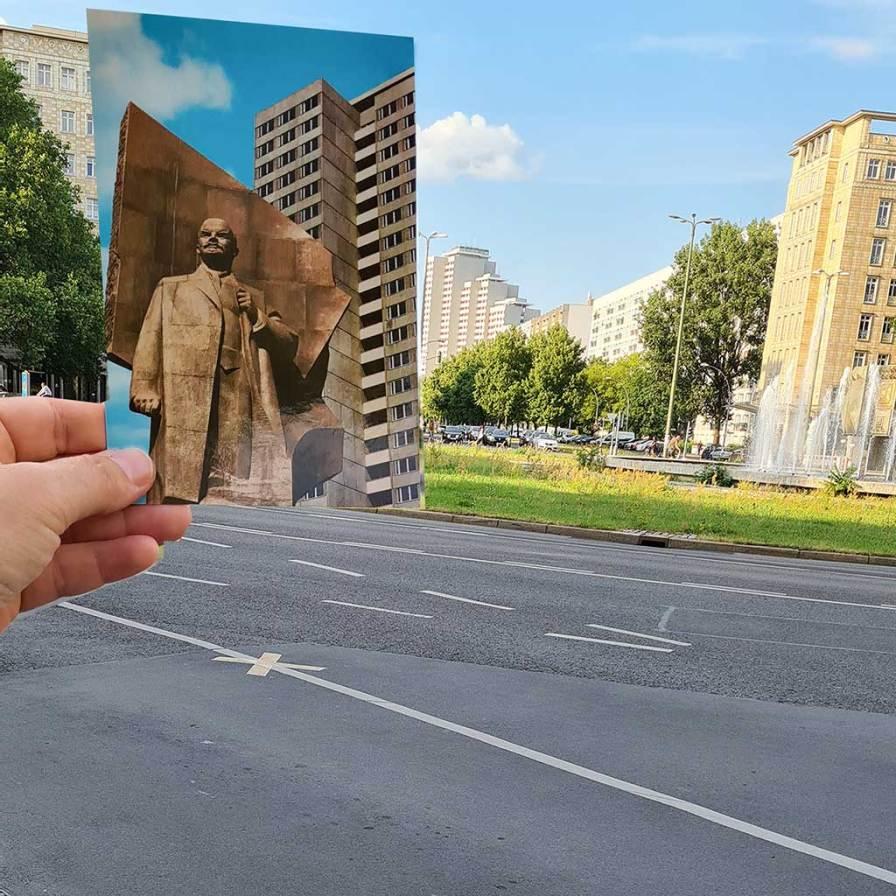 Die Postkarte zeigt das Turmhochhaus mit Lenin-Denkmal.