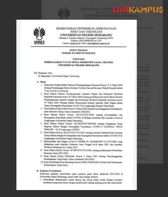 Surat Edaran Perkuliahan Tatap Muka [BP2M/Niamah].
