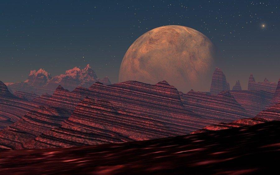 digitale kunst, roter planet, landschaft