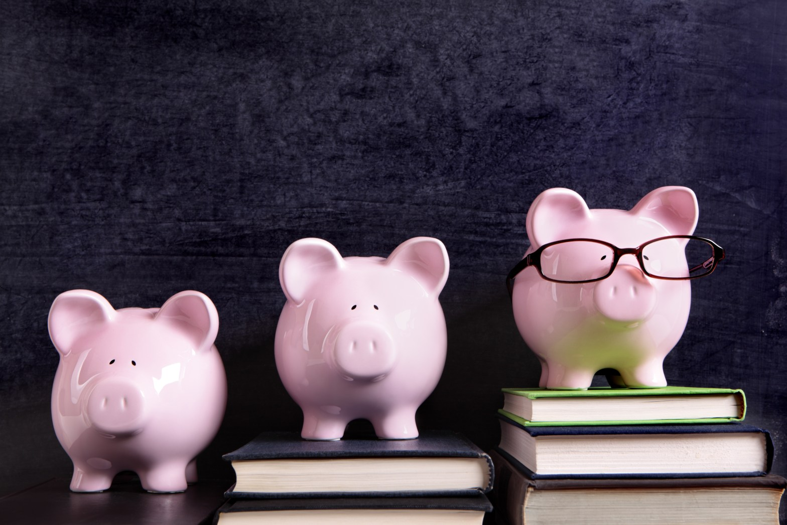 Image of three pigs on stacks of books in front of a chalkboard; courtesy of Shutterstock.
