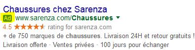 Capture d'écran publicité Adwords
