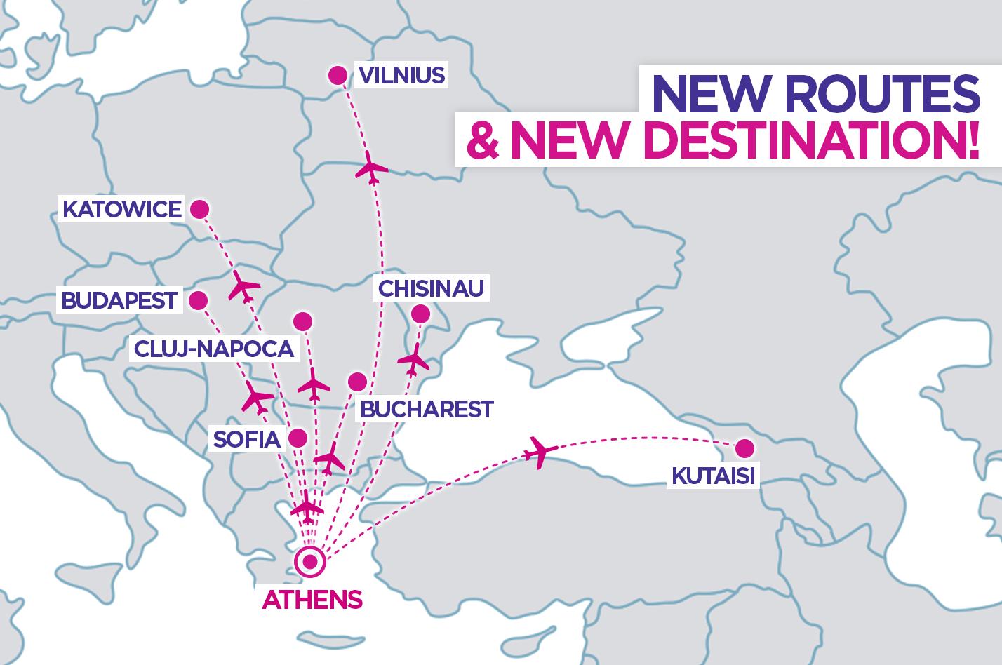 Ottime notizie!Dalla prossima primavera voleremo anche nella bella Atene da 8 città europee: Bucarest, Cluj-Napoca, Budapest, Sofia, Kutaisi, Katowice, Vilnius e Chisinau!