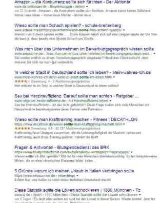 Sollte Suchergebnis in Google