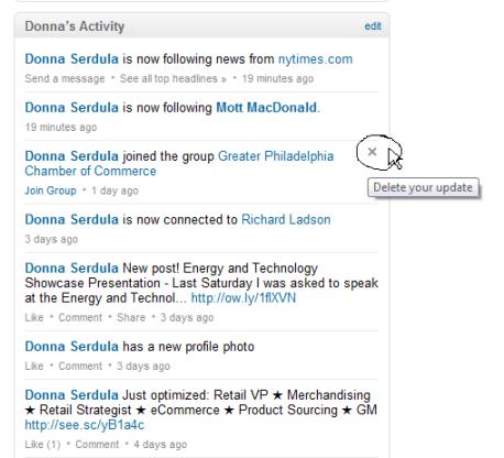 Deleting LinkedIn Activity Updates