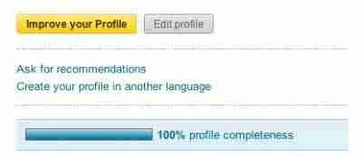 LinkedIn profile is complete and up to date