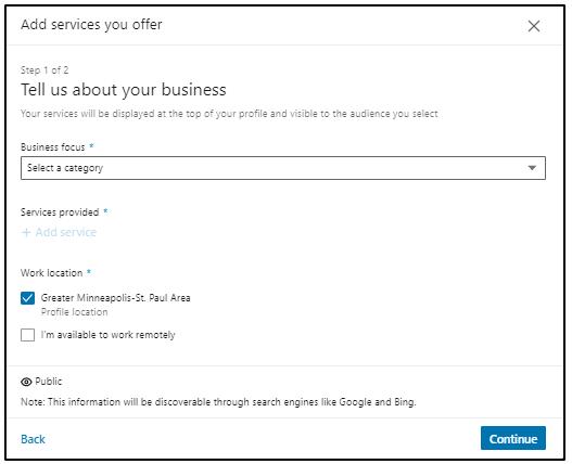 Add services offer on LinkedIn
