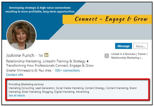 Services offer on LinkedIn