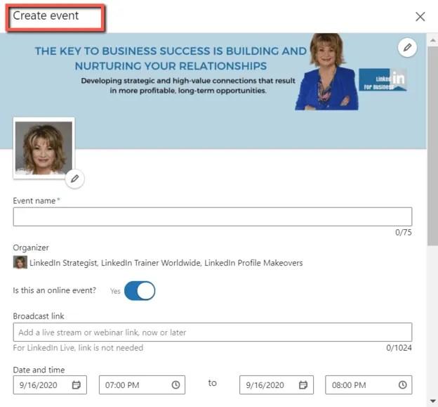Create Event In LinkedIn