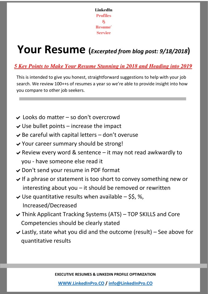 5 Key Points To Make Your Resume Stunning In 2019