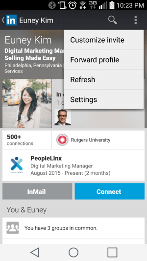 LinkedIn Android Mobile App Personalize Invitation to Connect