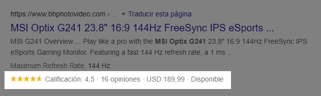 Rich Snippets Productos