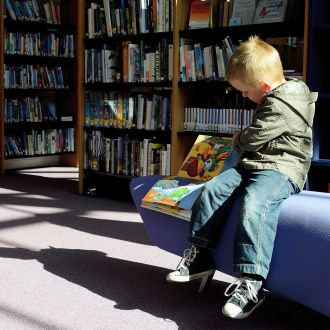 Young child in library reading