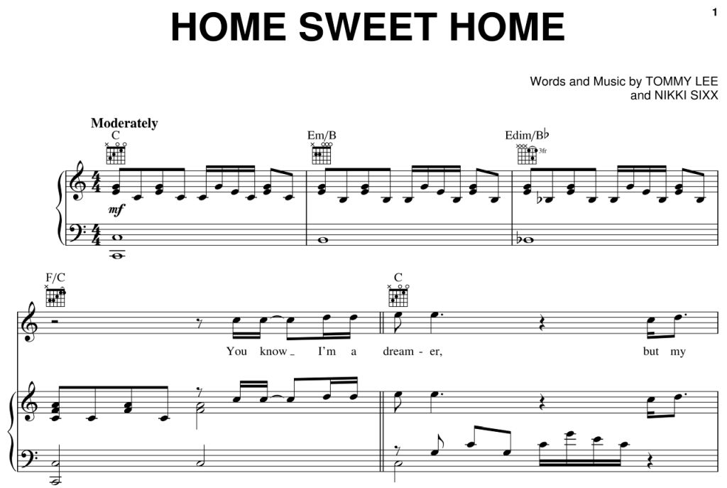 Song Home Sweet Home Piano Intro by Motley Crue