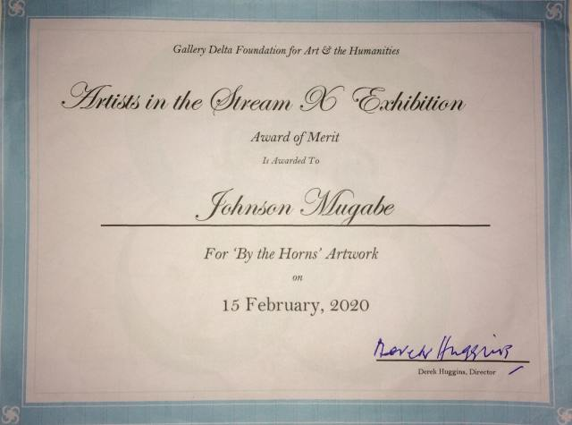 Certificate Awarded to Mubabe for his art