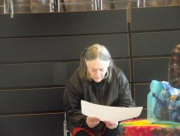 Participant reading her story