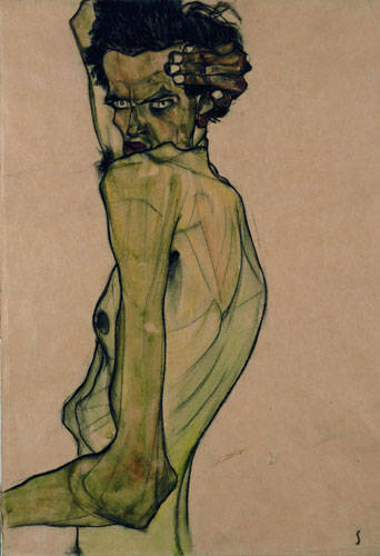 schiele self-portrait with arm above head