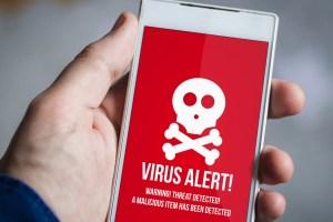 un alert virus su uno smartphone
