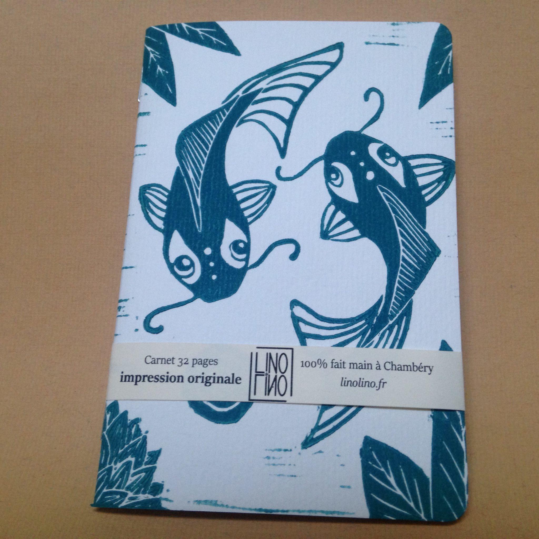 LinoLino | Linogravure et créations à partir d'impressions artisanales | Chambéry, France | Impression originale illustration carnet reliure etang japonais carpe koi koifish notebook