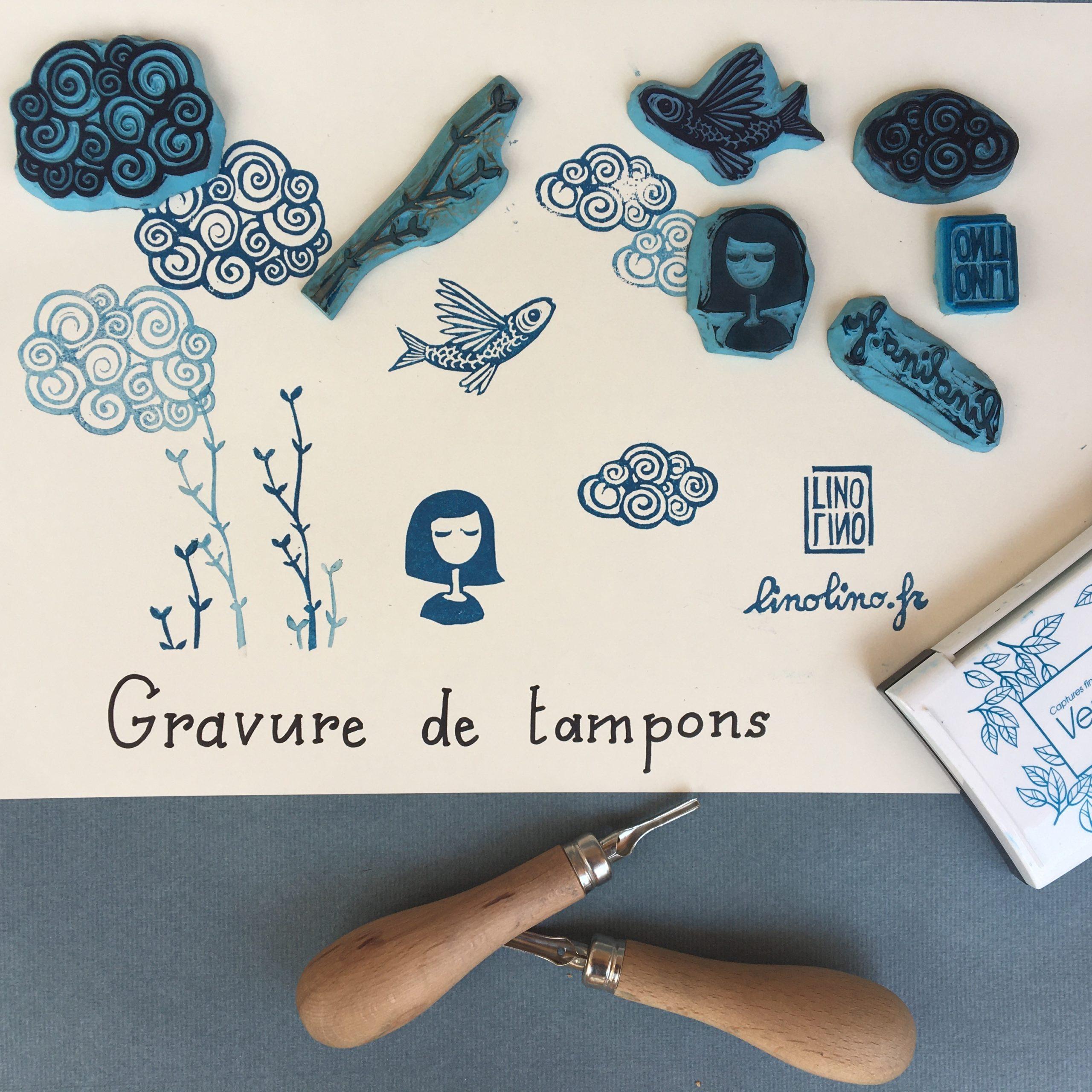 LinoLino | Linogravure et créations à partir d'impressions artisanales | Chambéry France | Atelier gravure tampons Novalaise l'artelier partagé