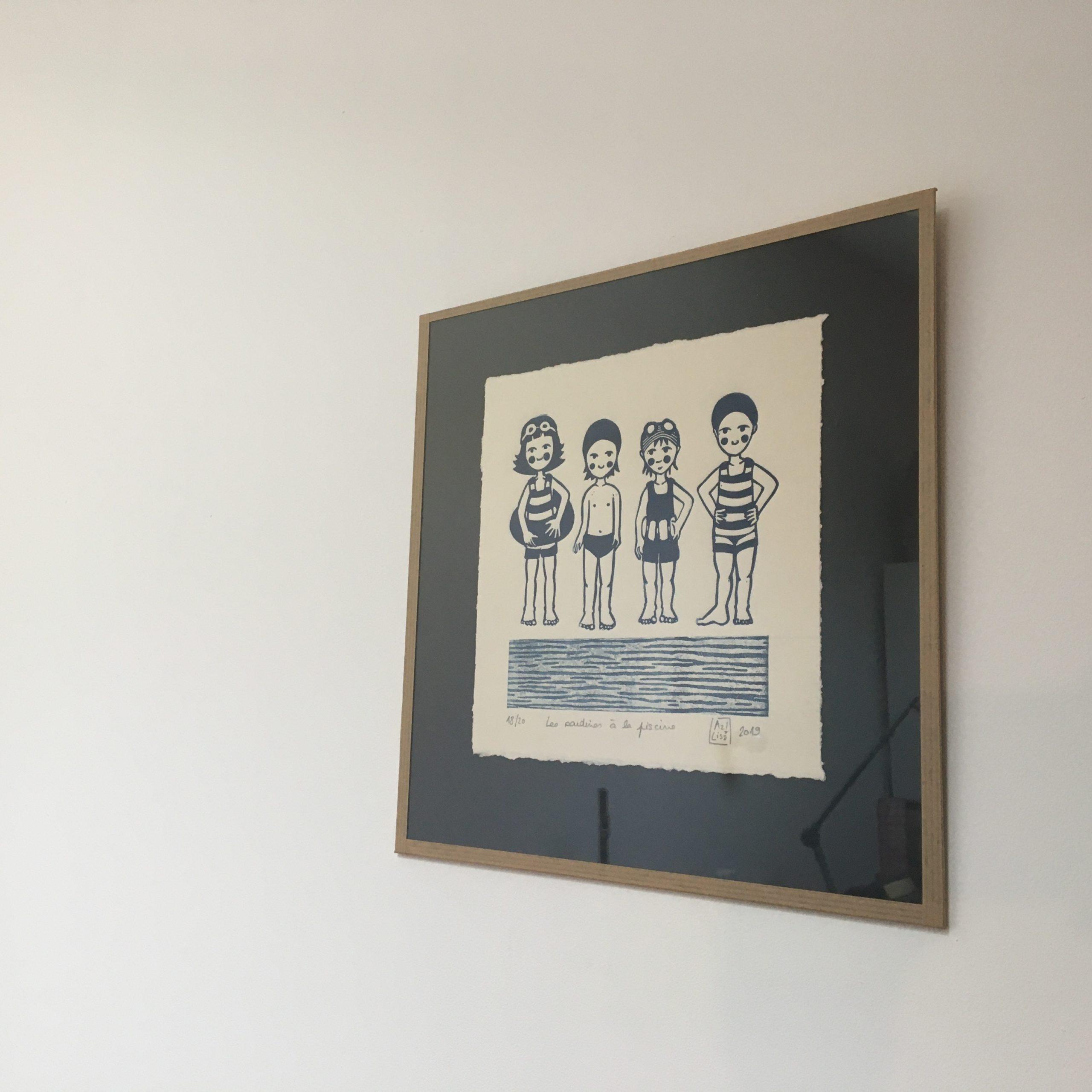 LinoLino | Linogravure et créations à partir d'impressions artisanales | Chambéry, France | Linogravure Sardines à la piscine