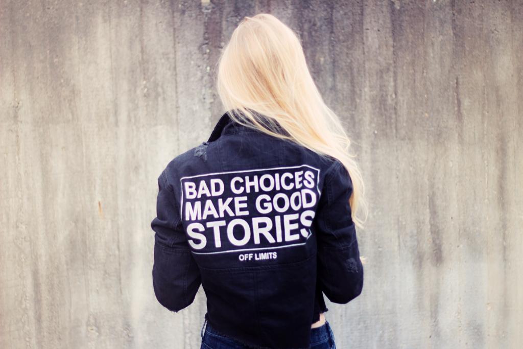 Statement Jeansjacke, Bershka, Croptop, bauchfrei, H&M, Sneaker, Nike, Airforce, Blogger, Bloggerstyle, Alltagslook