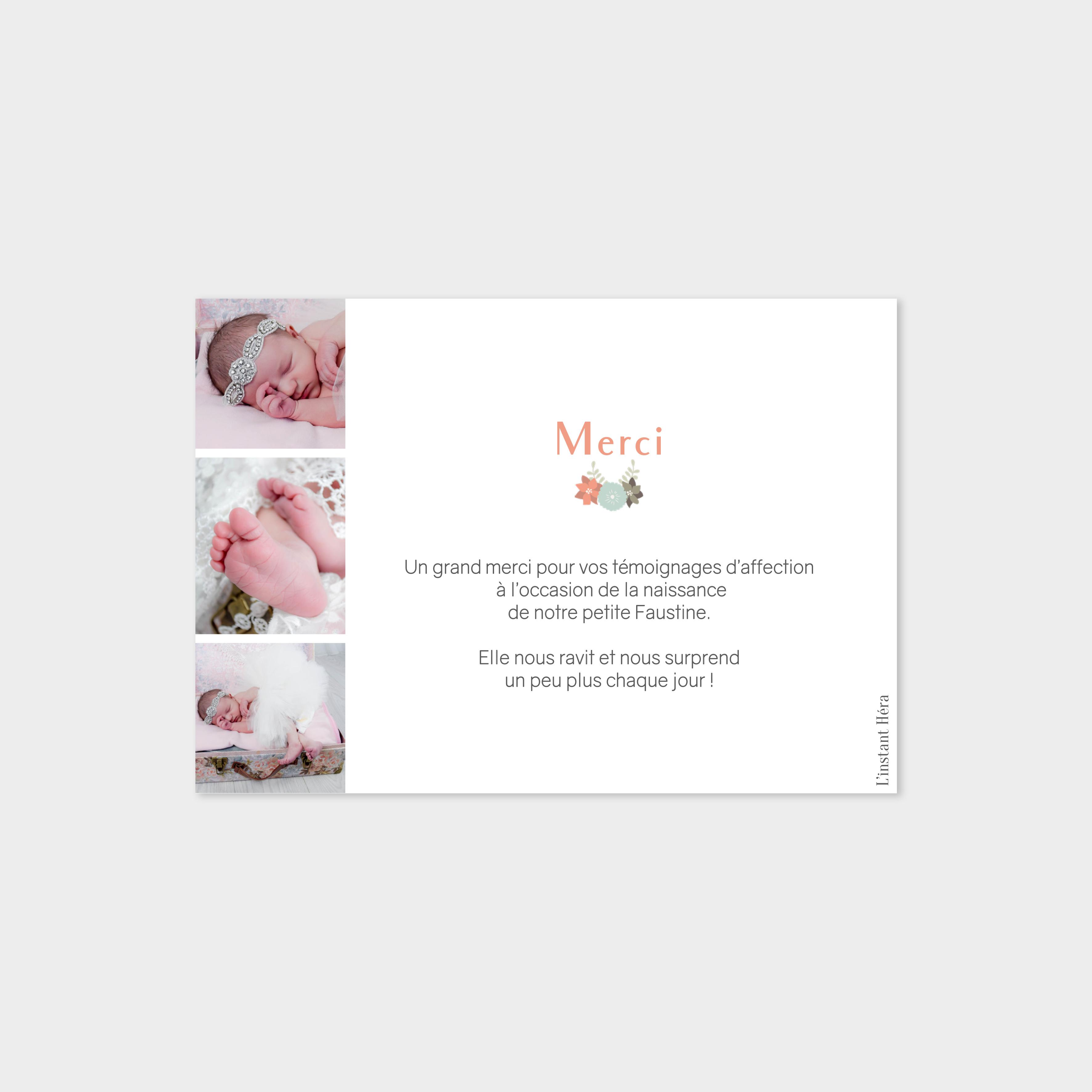 Carte de remerciement Fleuri
