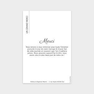 Carte de remerciement Amour