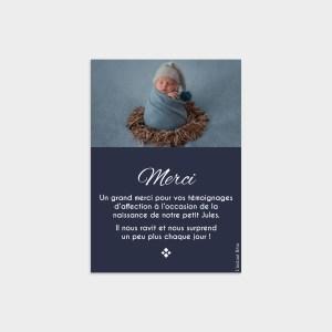 Carte de remerciement Saphir Bleu nuit