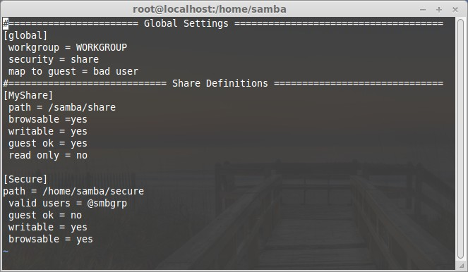 Create new samba share