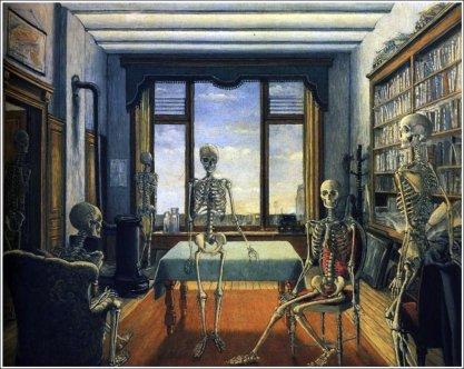 Squelettes dans un Bureau (1944, huile sur toile, 97 x 123 cm)